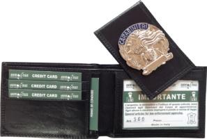 portafoglio carabinieri in pelle con placca esponibile